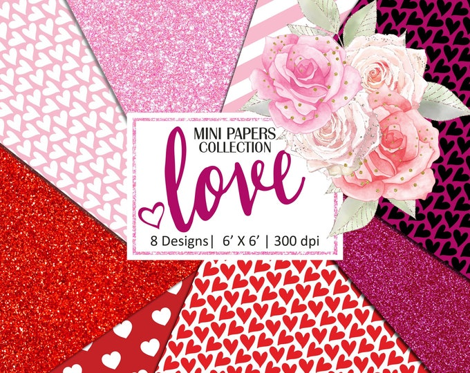 Valentine's Digital Papers, Pink and Red Glitter, Heart Pattern, Scrapbooking, Planner Stickers - MP111