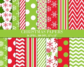 Christmas Digital Papers, Scrapbook Papers, Background, Digital Images - UZDP1855