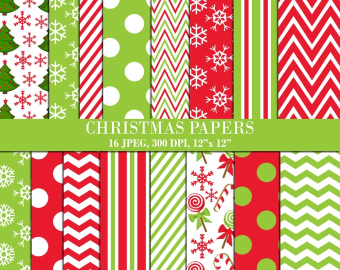 40% OFF SALE Christmas Digital Papers, Scrapbook Papers, Background, Digital Images - UZDP1855