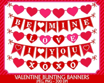 Valentines Bunting Flags Clipart, Digital Images - UZ876