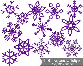 Glitter Snowflake Clipart, Purple Glitter Snowflakes, Commercial Use, Purple Snowflakes - UZ855