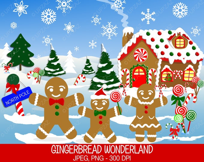 40% OFF SALE Gingerbread Clipart, Commercial Use, Gingerbread House, Digital Clipart, Digital Images - UZ631