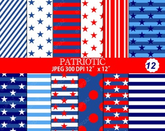Patriotic Pattern Digital Papers, Scrapbook papers, Digital Images, Background - UZDP928