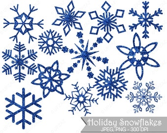 Glitter Snowflake Clipart, Blue Glitter Snowflakes, Commercial Use, Blue Snowflakes - UZ852