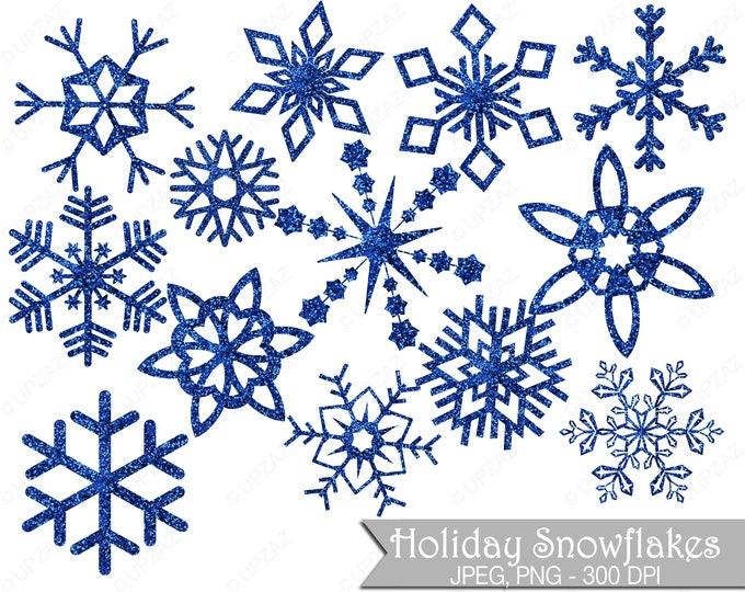40% OFF SALE Glitter Snowflake Clipart, Blue Glitter Snowflakes, Commercial Use, Blue Snowflakes - UZ852