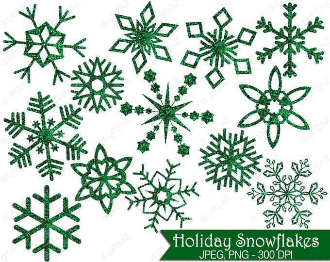 40% OFF SALE Glitter Snowflake Clipart, Green Glitter Snowflakes, Commercial Use, Green Snowflakes - UZ853