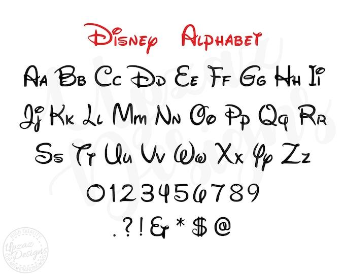 Disney Alphabet, Disney SVG Alphabet, Disney SVG, Alphabet Cutting File, Silhouette, Cricut