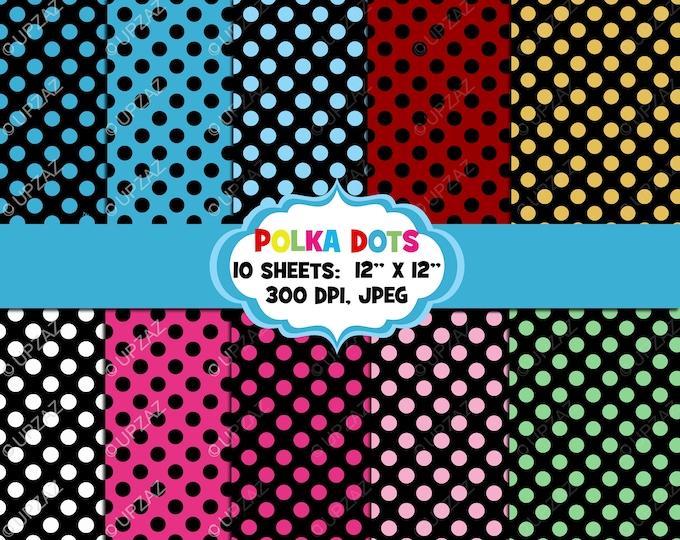 40% OFF SALE Polka Dot Digital Papers, Background, Digital Images - UZ837