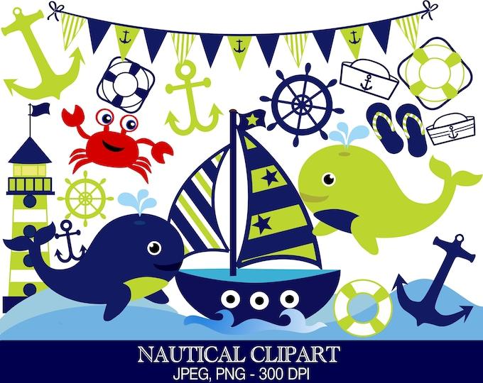 40% OFF SALE Nautical Clipart, Sailor Theme, Digital Images - UZ0222