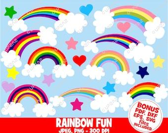 Rainbow Clip Art, SVG, Digital Images - UZ872
