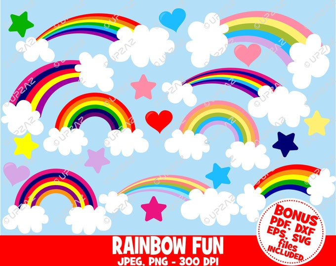 40% OFF SALE Rainbow Clip Art, SVG, Digital Images - Uz872