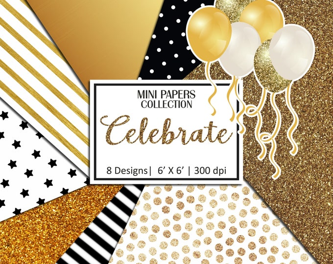 Celebrate Mini papers, Glitter Papers, Scrapbooking, Planner Stickers, Background - MP987