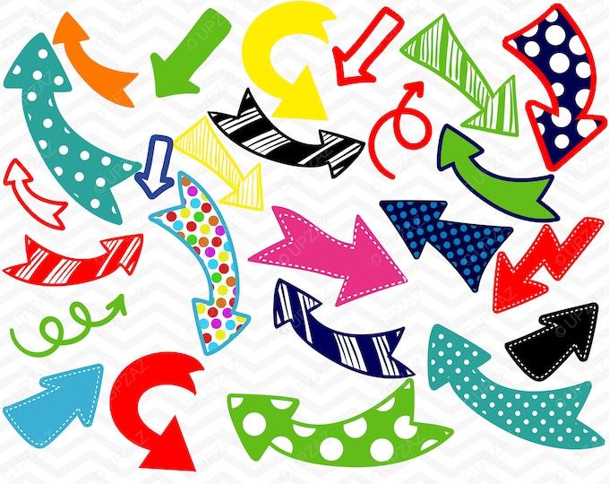 40% OFF SALE Arrow Clipart, Polka Dot Arrows, Doodle, Digital Images - UZ819