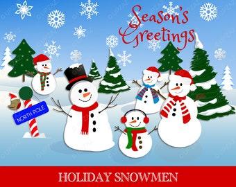 Snowman Clipart, Commercial Use, Snowmen, Digital Clipart, Digital Images - UZ632