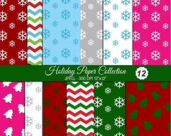 Christmas Digital Papers, Scrapbook Papers, Background, Digital Images - UZ814