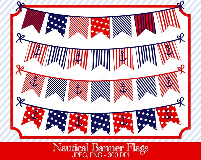 40% OFF SALE Nautical Bunting Flags, Banner Clipart, Digital Images - UZ709