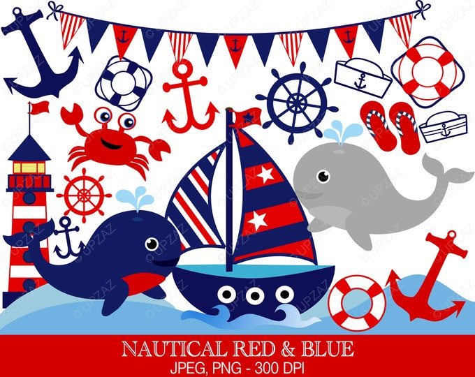 40% OFF SALE Nautical Clipart, Nautical Theme, Digital Images - UZ585
