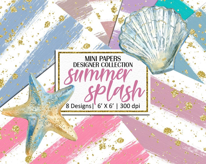 Summer Splash Mini Papers, Hand Painted Brush Strokes, Scrapbooking, Planner Stickers, Background - MP855