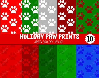 Paw Prints Digital Papers, Scrapbook Papers, Background, Digital Images - UZ638