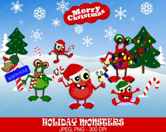 Christmas Monsters Clipart, Personal Use, Holiday Monsters, Digital Clipart, Digital Images - UZ611