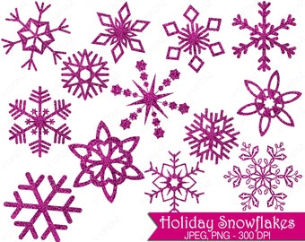 Glitter Snowflake Clipart, Pink Glitter Snowflakes, Commercial Use, Pink Snowflakes - UZ856