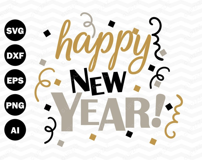 Happy New Year SVG, Commercial Use, Vector Graphics, Digital Image - SVG889