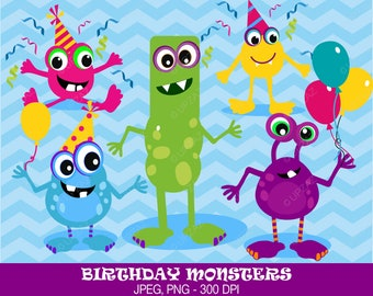 Monsters Clipart, Birthday Monsters, Digital Images - UZ630