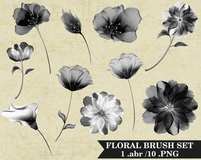 Floral Photoshop Brushes, Flower Photoshop Brushes - UZPSB856