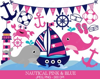 Nautical Clipart, Sailor Theme, Digital Images - UZ586
