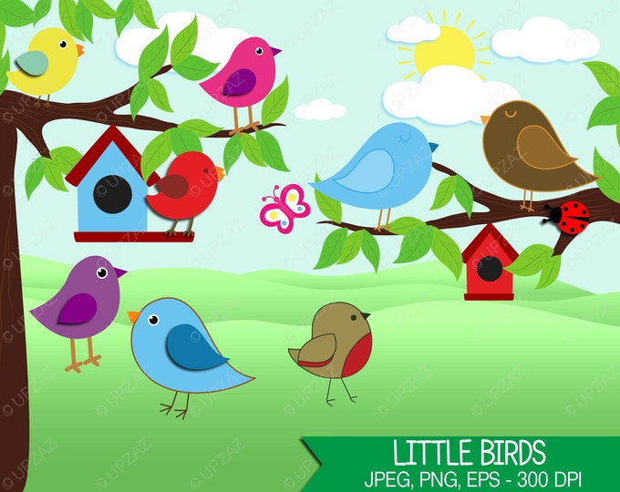 40% OFF SALE Bird Clipart, Bird Theme, Bird House, Digital Images - UZ599