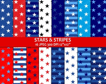 Stars and Stripes Patriotic Digital Papers - UZDP927