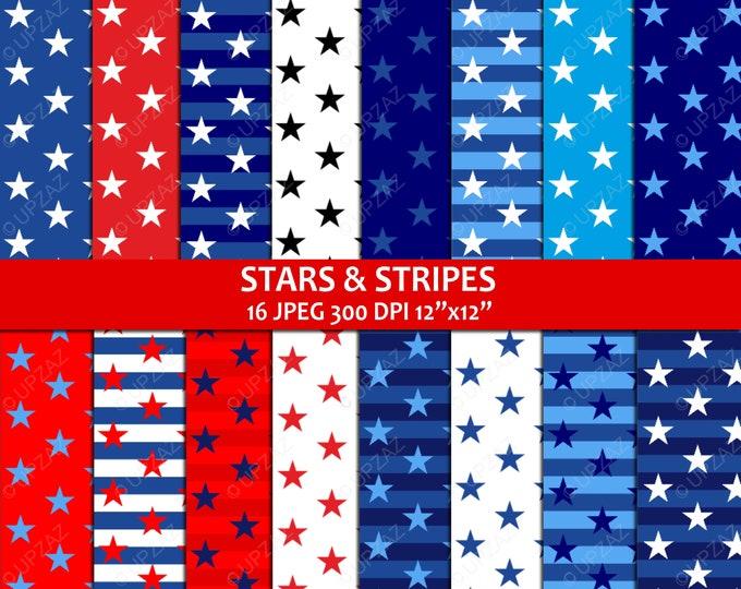 40% OFF SALE Stars and Stripes Patriotic Digital Papers - UZDP927