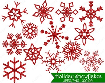 Glitter Snowflake Clipart, Red Glitter Snowflakes, Commercial Use, Red Snowflakes - UZ854