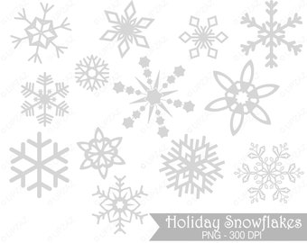 Gray Snowflake Clipart, Commercial Use - UZ830