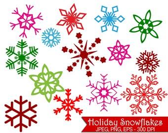 Colorful Snowflake Clip Art - UZ827