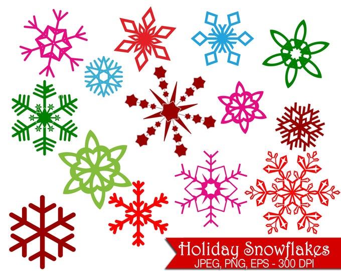 40% OFF SALE Colorful Snowflake Clip Art - UZ827