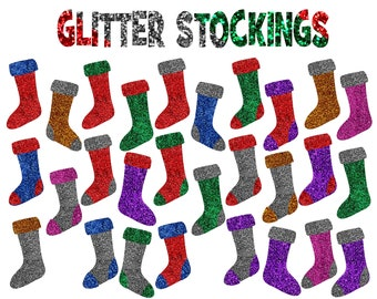 Christmas Stockings Clipart, Glitter Stockings, Glitter Stockings Clipart, Commercial Use  - UZ861