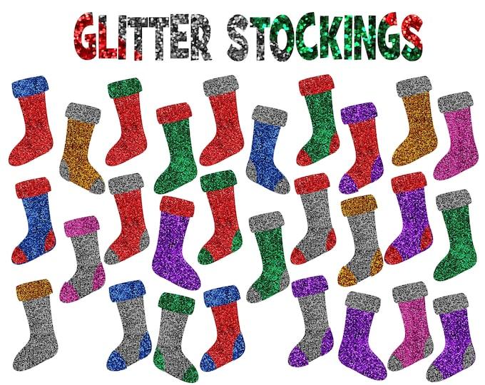 40% OFF SALE Christmas Stockings Clipart, Glitter Stockings, Glitter Stockings Clipart, Commercial Use  - UZ861