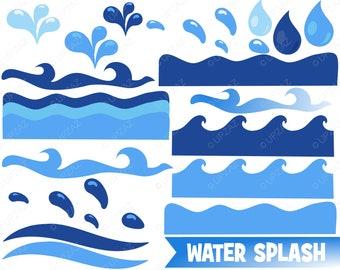 Water Wave Clipart | Sea Waves | Ocean Waves | Water Wave Borders | Nautical Clip Art | Upzaz Designs - UZ0202