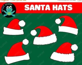 75% OFF SALE Santa Hat Clipart, Santa Hats, Commercial Use  - UZ835