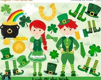 75% OFF SALE Saint Patrick's Day Clipart, Shamrock Clipart, St Patty's Day, St Paddy's Day, Commercial Use, Digital Clipart - UZ865