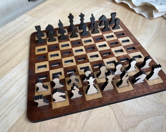 Miniature Chess Board - Travel Game Set - Wooden Chess Set - Handmade - Laser Etched - Kids Game - Skill and Strategy Game