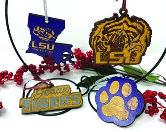 Louisiana Collage Football LSU Ornament - Wood - Laser Cut - Handmade - Football - Tiger Eye - New Orleans - Louisiana State University