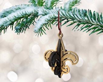 Dimensional Louisiana Football Saints Ornament - Wood - Handmade - Fleur De Lis - Black and Gold - New Orleans Christmas Ornament