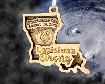 Wooden Christmas Ornament - Louisiana Hurricane Ida Ornament - Handmade Christmas Gift - Louisiana Gift - Louisiana Strong - State Ornament
