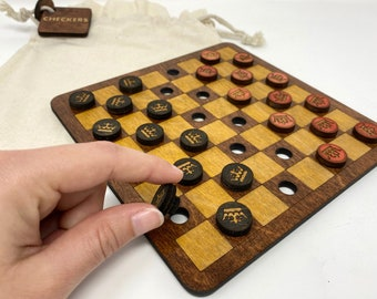 Miniature Checkers Board - Travel Game Set - Wooden Chess Set - Handmade - Laser Etched - Kids Game - Skill and Strategy Game
