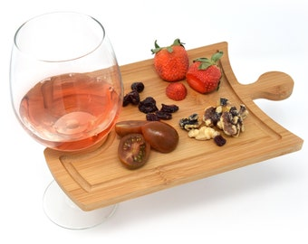 Cutting Board - Wine Glass Holder - Cheese and Wine Charcuterie Board - Party Favor - Gift Idea - Puzzle Interlocking - Handheld Small