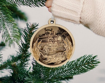 Wooden Christmas Ornament - New Orleans Themed Ornament - Handmade Christmas Gift - Louisiana Gift - Steamboat - Swamp - NOLA - Alligator