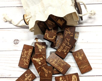 Wooden Dominoes Set - Laser Cut Games - Travel Game Set - Handmade - Laser Etched - Kids Game - Skill and Strategy Game
