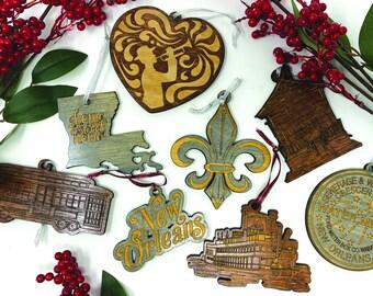 Louisiana New Orleans Ornament - Wood - Laser Cut - Handmade - Steamboat - Fleur De Lis - Streetcar - Watermeter - Jazz - Gift - Christmas